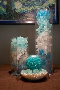 Try using Rock Candy...this candy can be part of a candy buffet OR edible centerpieces! Fun Idea...