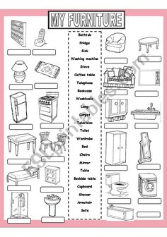 My Furniture worksheet Learning English For Kids, Kids English, Teaching English, Learn English Grammar, English Lessons, English Vocabulary, Teaching Vocabulary, Vocabulary Worksheets, Sign Language Phrases