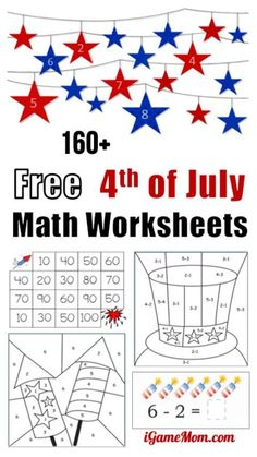 Free of July Math worksheets for kids from preschool to kindergarten to Grade Great for quiet time during the holiday and summer family travel. Also good for preventing summer slide. - Kids education and learning acts Kindergarten Math Activities, Kids Learning Activities, Preschool Math, Math Math, Summer Activities, Printable Math Worksheets, Worksheets For Kids, Fractions Worksheets, Multiplication