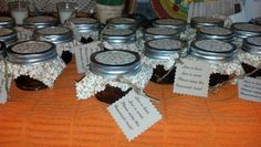 """Homemade country apple jam as bridal shower favors...they say """"love is kind, love is sweet, please enjoy this homemade treat""""."""