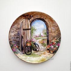 Купить Роспись фарфора Тарелки на стену Прованские дворики, 10 - роспись фарфора, роспись по фарфору