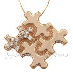 14k Rose Gold Diamond Puzzle Piece Autism Awareness Pendant