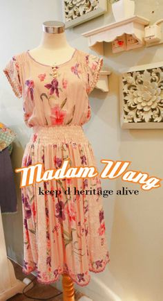 cream pink paris batik dress