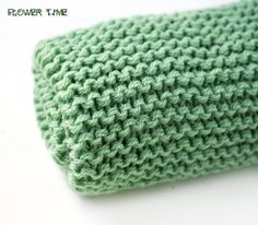 Light green woolen knit infinity scarf soft snood by FlowerWatch