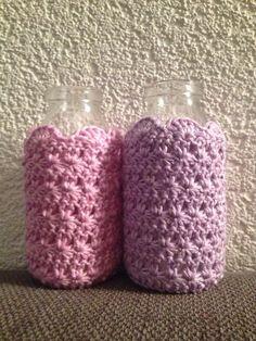 Cute bottles!! Star stich crochet!