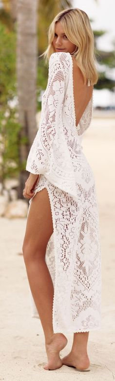 White Crochet Split Open Back Maxi Cover Up by Tuula