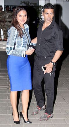 Akshay Kumar with Lara Dutta at the Mumbai airport. #Bollywood #Fashion #Style #Beauty #Handsome #Punjabi