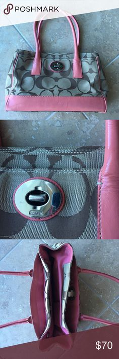 Pink accented Coach Hangbag Minimal signs of wear.  Perfect for spring!!! Authentic Coach. Coach Bags