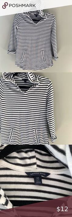 3/$25 Lands End striped hoodie with round … Lands End striped hoodie with roun...#hoodie #lands #roun #striped Lands End, Hoodies, Sweatshirts, Swimsuits, Comfy, Flat Lay, Black And White, Sleeves, Cotton