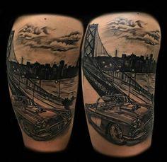 Bay Area inspired Tattoo done by Dave Watts Las Vegas, NV Crown of Thorns. #goldengatebridge #corvette