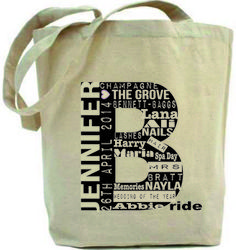 www.allabouttheprints.co.uk Personalised wedding bride bag £20. All the details of the special day. Great keepsake.