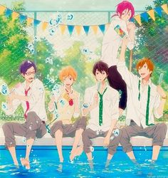 Fre! ~~~ Um, how did they keep Haruka from jumping in? ::: Rei & Nagisa & Haruka & Makoto & Rin