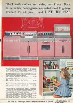 The perfect vintage pink kitchen for your baby girl! ~ From the 1962 Spiegel Christmas Catalog....