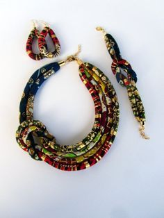 Ankara print earrings African fabric dangle golden red by nad205