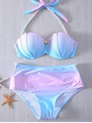 Pearl Embellished Halter Neck Tie Dye Bikini Set For Women (BLUE AND PINK,M) | Sammydress.com Mobile
