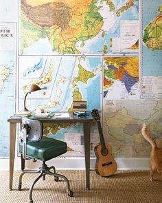 Map wallpaper-- boys room... but older maps-- maybe nautical-- faux aged/ distressed then add bold colored stencils over...