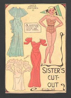 Sister's cut out 5-13-34 Jane *** Paper dolls for Pinterest friends, 1500 free paper dolls at Arielle Gabriel's International Paper Doll Society, writer The Goddess of Mercy & The Dept of Miracles, publisher QuanYin5