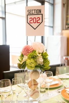 Cute and simple baseball-themed wedding! Baseball Wedding Shower, Softball Wedding, Sports Wedding, Baseball Party, Baseball Wedding Centerpieces, Baseball Centerpiece, Flower Centerpieces, Centrepieces, Centerpiece Ideas