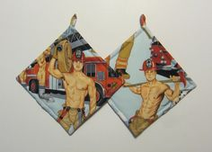 Sexy Hunky Hot Men Firemen Pinup Pot Holders Set by QuiltingGranny, $15.00