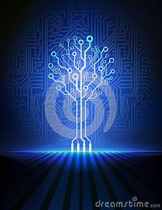 Circuit board tree. Vector background