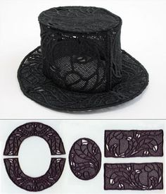 Free Standing Lace Top Hat for Centerpieces.  {jrs: make out of felt & scale down for snowmen!}