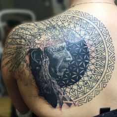 Geometric designs always accompany a portrait well. #inked #inkedmag #tattoo #indian #american #love #chief