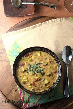 Wine Down Wednesday - Sweet Corn and Pattypan Squash Chowder - Florida Coastal Cooking & Wellness