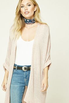 Forever 21 Contemporary - An open-knit longline cardigan featuring an open front and 3/4 dolman sleeves with rolled cuffs.