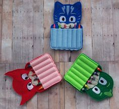 3 PJ Mask Inspired Crayon Holder Party Favors by kountrydelites