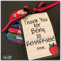 Dry Erase Markers with Ink Indicator: A Teacher Win! Teacher Appreciation Week marker themed gift tags for the reMARKable teachers in your life.Teacher Appreciation Week marker themed gift tags for the reMARKable teachers in your life. Employee Appreciation Gifts, Volunteer Appreciation, Teacher Appreciation Week, Volunteer Gifts, Principal Appreciation, Teacher Thank You, Thank You Gifts, Teacher Gifts, Teacher Presents