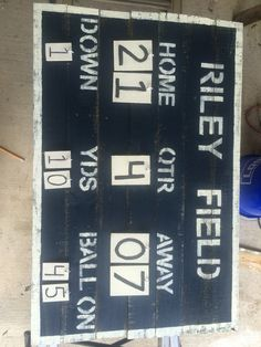 DIY Pallet Wood Vintage Style Football Scoreboard For A Sports Baby Nursery Or Young Child