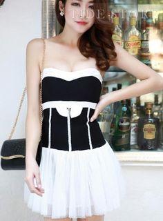 Lovely Split Joint Strapless Lace Bodycon Dress
