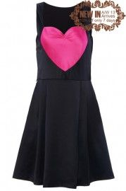 Rose Heart-shaped Embellishment Black Dress  #ROMWEROCOCO.