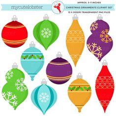 Christmas Ornaments Clipart Set  clip art by mycutelobsterdesigns