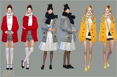 SIMS4 marigold: ACC_winter coat_single colors_ winter coat solid color version Accessories clothes _ women