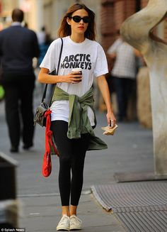 Former flame: Alexa Chung wore an Arctic Monkey's T-shirt when she stepped out in New York on Wednesday