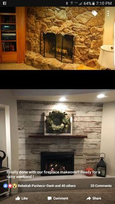 Distressed white wood fireplace