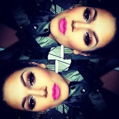 perfect pink lip and eye makeup.. one of my fav makeup looks