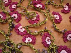 crochet lariat necklace, violet flower, extra long