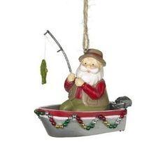 ... Fishing Boat Santa Personalized Christmas Ornament | Ornaments and