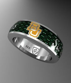 Green enamel #Baylor band ring