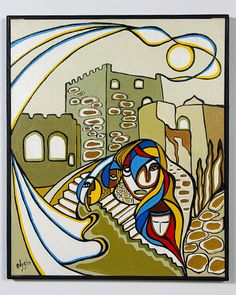 Daphne Odjig, Phaseal Tower, Acrylic Painting on Canvas, Native Art