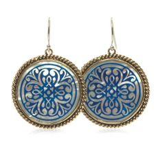 Sundial Collection #esbedesigns #Fall2014   #Sterling Silver And #Brass Mother Of Pearl Azure Blue #Enamel Earrings. ES373 #handcrafted #gift #jewelry