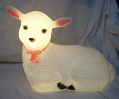 Union Blow Mold Lamb Sheep Lighted Nativity Figure by diantiques