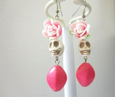 Day Of The Dead Earrings Sugar Skull Pink White by sweetie2sweetie, $8.99