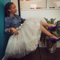 Hangin out at the office in a tutu!! Tutu from#chicwish, Top #jcrew, shoes #heelboy