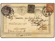 CHINA. 1890. CHINA to ENGLAND. Postcard with Chinese 4 cts. and French 10 cts. franking. Redirected to SWEDEN with GB 1 p. stamp. Rare combination franking. Public Auction Minimum bid  700.00 EUR  End date of bidding:  20.05.2015