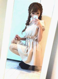 short sleeve ruffle mini dress + spots tights + black heels   spring primavera style