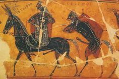 Hephaestus on the Francois Vase. Hephaestus' trimphant return to Olymp, riding on a donkey and accompanied by silenoi or satyrs, half man, half goat creatures. Here one shown carrying a wineskin on his back. Note the written labels, early Greek could be written left to right or right to left. Scene ftom the François Vase .