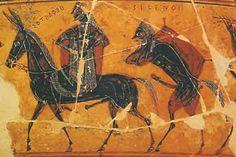 Efesto, indicato dalla didascalia che riporta il suo nome, torna sull'Olimpo a dorso di mulo.